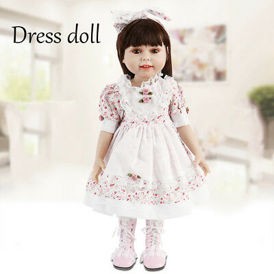 "NEW 18"" Girl Baby Doll Dressing Vinyl Toy Dolls Floral skirt Girl Birthday Gift"
