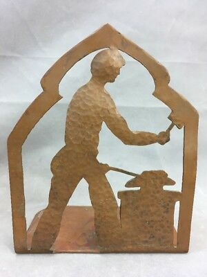 Vintage Hammered Copper Sillouette Bookend Blacksmith Arts & Crafts