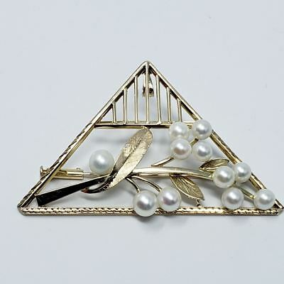 Japanese Mikimoto Pearl Floral Pendant/Pin/Brooch In Gold