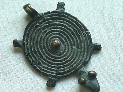 Gan Bronze Amulet Pendant, Solar Disk and Turtle-AFRICA, Late 20th Century