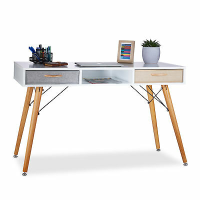 Wooden Office Desk, Computer Table with Drawers and Crossbraces, White
