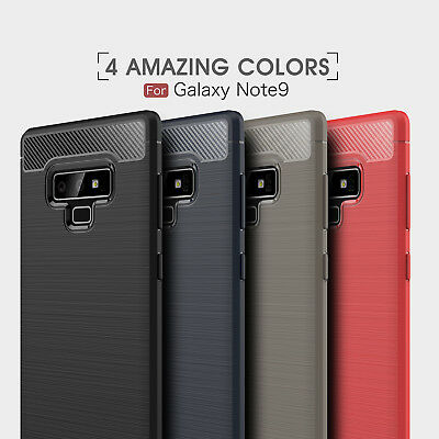 For Samsung Galaxy Note 9 Shockproof Brushed Carbon Fiber Silicone TPU Case Cove