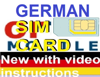 NEW, Ortel GERMAN, PREPAID SIM card. MICRO, STD or NANO size. Connection pack.