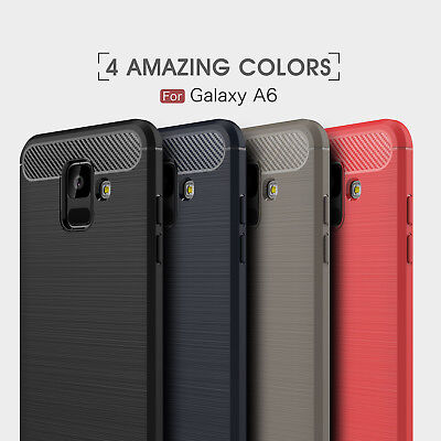 For Samsung Galaxy A5 A6 2017 Shockproof Brushed Carbon Fiber Silicone TPU Case