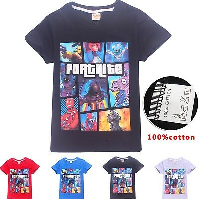 Fortnite Game Figure Kids T-shirts Tops Shirts Costume Boys T shirts 100% Cotton
