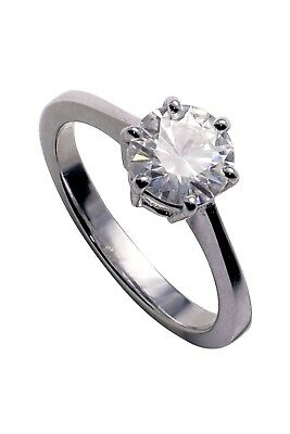 Forever Brilliant 1 CTW Round Colourless Moissanite White Gold Engagement Ring