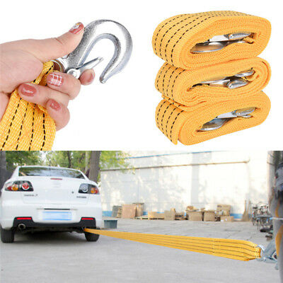 Pro Heavy Duty Self-Rescue Car Tow Rope Strap Belt Nylon Strong Hook