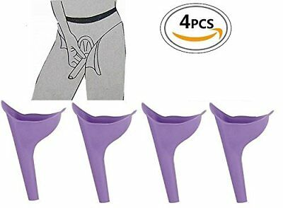 4 PK Female Urinal Device Reusable Silicone Portable Funnel Women Travel Camping