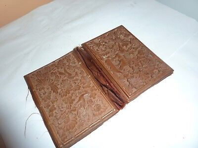 Antique Indian 10.2Cm Wooden Carved Card Case/wallet With Elephant/birds/flowers