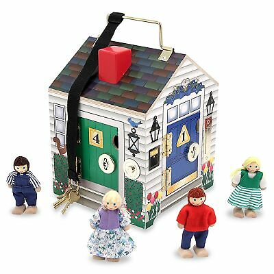 Melissa And Doug Wooden Doorbell House Play Set With Figures - From 3 Years
