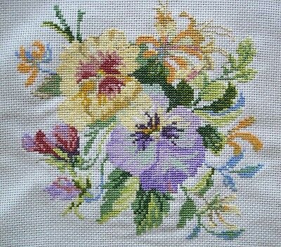 Completed Counted Cross Stitch Unframed Picture Pansies Iris & Sweetpeas