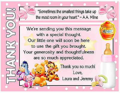 20 PINK WINNIE THE POOH BABY SHOWER THANK YOU CARDS with envelopes