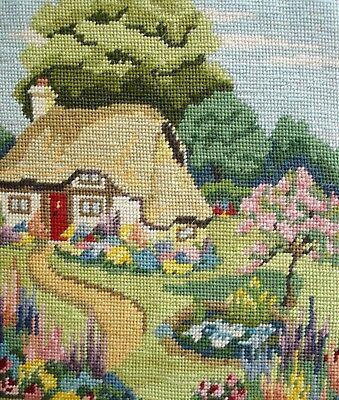 Antique Completed Cross Stitch Tapestry Unframed Picture English Country Cottage