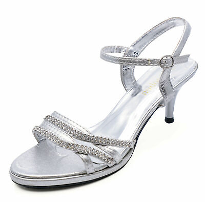 Womens Silver Bride Wedding Diamante Sandals Bridesmaid Prom Shoes Sizes 3-8