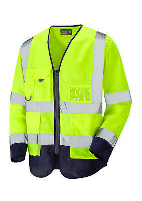 Hi Vis Viz Executive Long Sleeve Waistcoat Jacket Yellow / Navy Blue