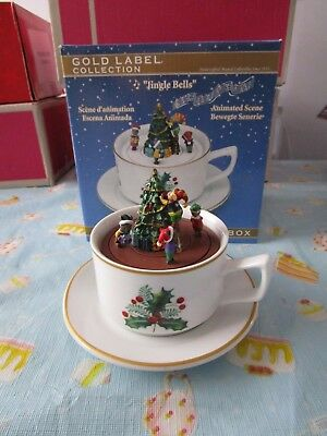 Mr Christmas Gold Label Collection China Teacup Music Box Animated scene