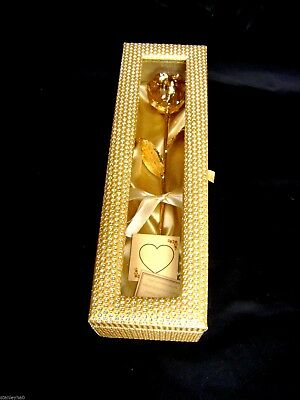 ANNIVERSARY/WEDDING/BIRTHDAY 12 Inch 24K Gold Dipped Rose in a Gold Egyptian Box