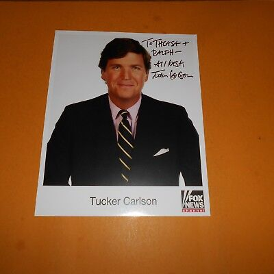 Tucker Carlson Fox American conservative political commentator Hand Signed Photo