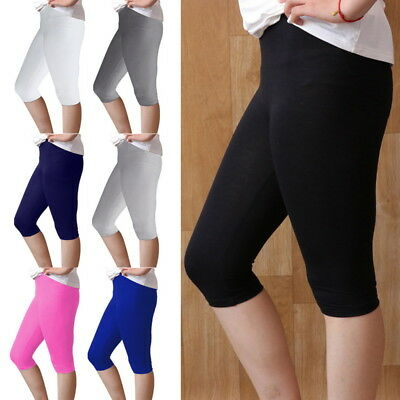 3PCs Casual Summer Ladies Thin Solid Cropped Trousers Modal Slim Short Leggings
