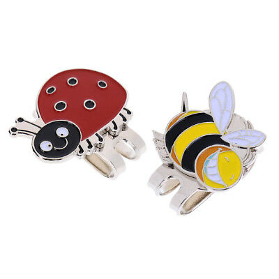 2Pcs Alloy Golf Ball Marker with Magnetic Hat Clip Beautiful Gift for Golfer