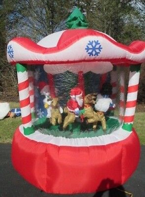 GEMMY Inflatable AirBlown Christmas Carousel 7 FT 2005 Santa Reindeer Animated