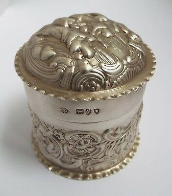 Beautiful Decorative English Antique 1895 Solid Sterling Silver Box Or Tea Caddy