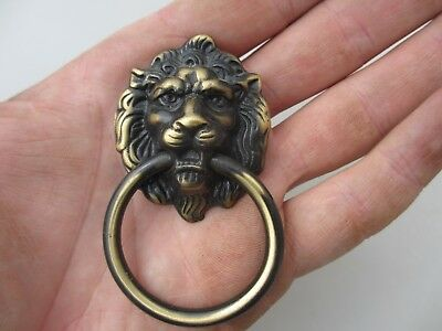 Brass Lion Chest Pull Drawer Handle Lions Loop Old Hardware new