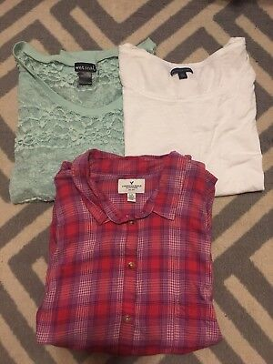 Lot Of 3 Womens Tops American Eagle Plaid Button Down Wet Seal Lace Large L