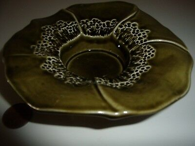 Vintage green glazed Honiton pottery dish in the shape of a flower