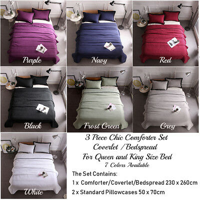 3Piece Chic Comforter Coverlet Bedspread Set Quilt Queen King Size Bed 230x260cm
