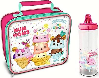 Num Noms Childrens School Kids Girls Insulated Wipe Clean Lunch Bag Bottle Set