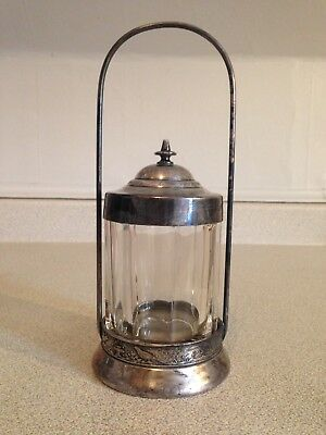 Antique Victorian Clear Glass And Silver Plate Pickle Castor, Unmarked
