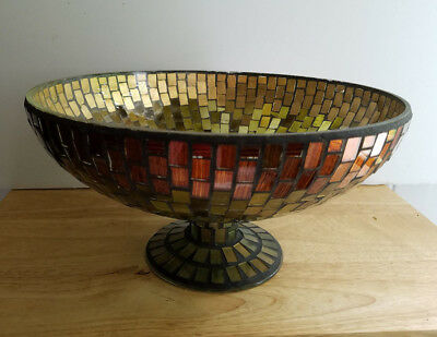 Beautiful Large Vintage STAINED GLASS MOSAIC Pedestal BOWL