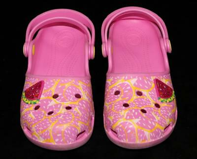 CROCS Girls Pink Watermelon Clog Shoes Slip On's Waterproof ~ Youth Sz 3 EUC ng