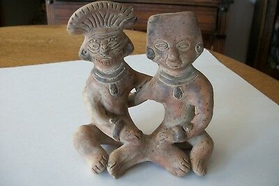 Pre-Columbian Clay Joined Figures Mexico  Mayan Inca Aztec Pottery