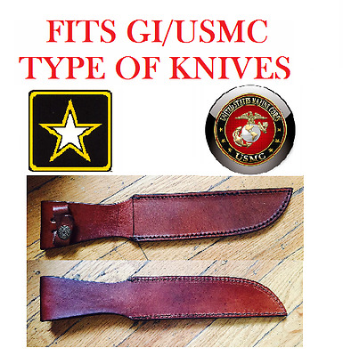 """Brown Leather Fixed Blade Knife Belt Sheath Pouch for up to 7 1/4"""" Marine Bowie"""