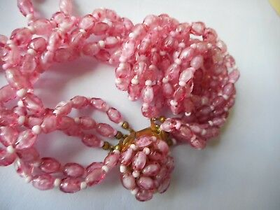 Vintage Austria pink murano glass four strand necklace,stunning,high quality,18""