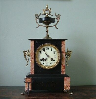Excellent Antique French Marble Ornate Ormolu Mount Chiming Japy Movement Clock