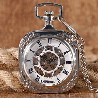 Silver Square Mechanical Hand Winding Pocket Watch Roman Numbers Dial Open Face