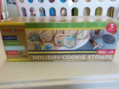 Nordic Ware Holiday Cookie Stamps Wreath Gift Tag Snowflake Set Of 3 New #11219