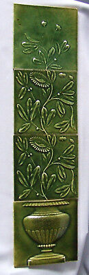 J JG Low Art Tile Panel Flowers in Urn Victorian Green Fireplace Accent Antique