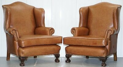 Pair Of Restored Brown Leather Circa 1860 Wingback Armchairs Claw & Ball Feet