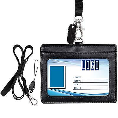 """Badge Holder, Wisdompro Double Sided Pu Leather Id Badge Card Holder With 23"""" Ad"""