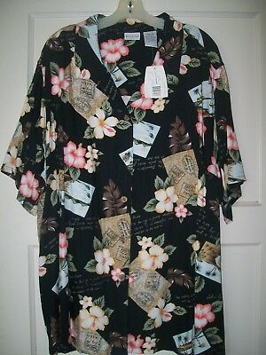 White Stag  Sz 26/28W  Hawaiian Floral Blouse SS   Black/Tan/Wht/Coral   NEW