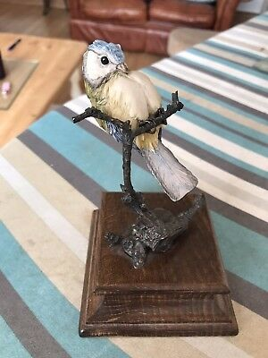 Country Artists Richard Cooper Blue Tit On Bronze Branch Collectable Bird Look