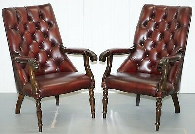 Matching Pair Of Vintage Chesterfield Oxblood Leather Library Reading Armchairs
