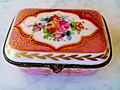Gorgeous Antique French Sevres Jewelry Box H/ Painted Flower And Gold Design Si
