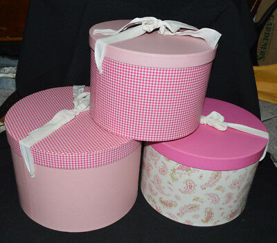 Girl's Pottery Barn 3 Vintage Large Round Nesting Hat Boxes Pink/green/white