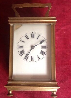 Vintage Brass Carriage Clock Made In France Spare Or Repair