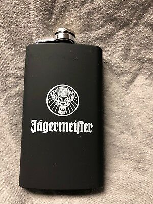 jagermeister flask, flat black, new in packaged box silver top